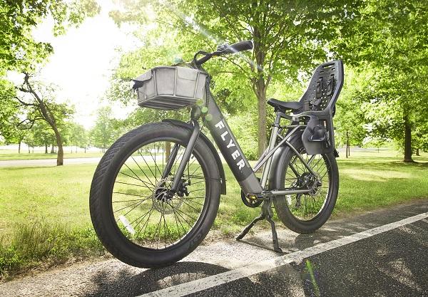 empty black electric bike in park