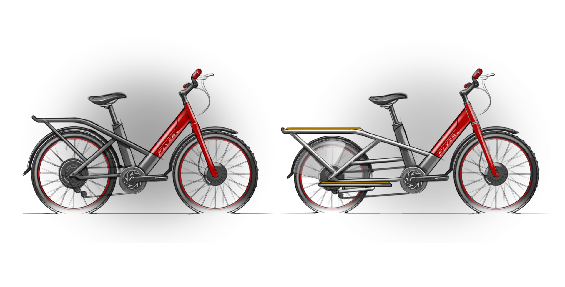 Sketches of two red electric bikes
