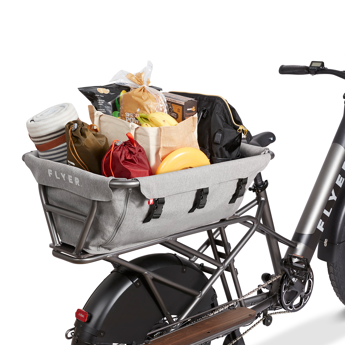 Kid & Cargo Carrier on Flyer L885 eBike filled with groceries and other essentials