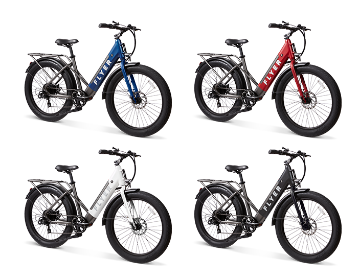 Flyer M880 electric bikes in black red white and blue