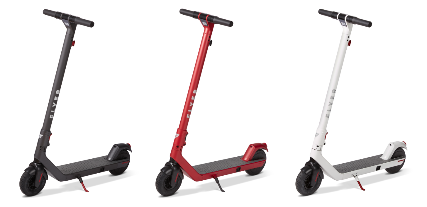 Flyer S533 electric scooters in black red and white