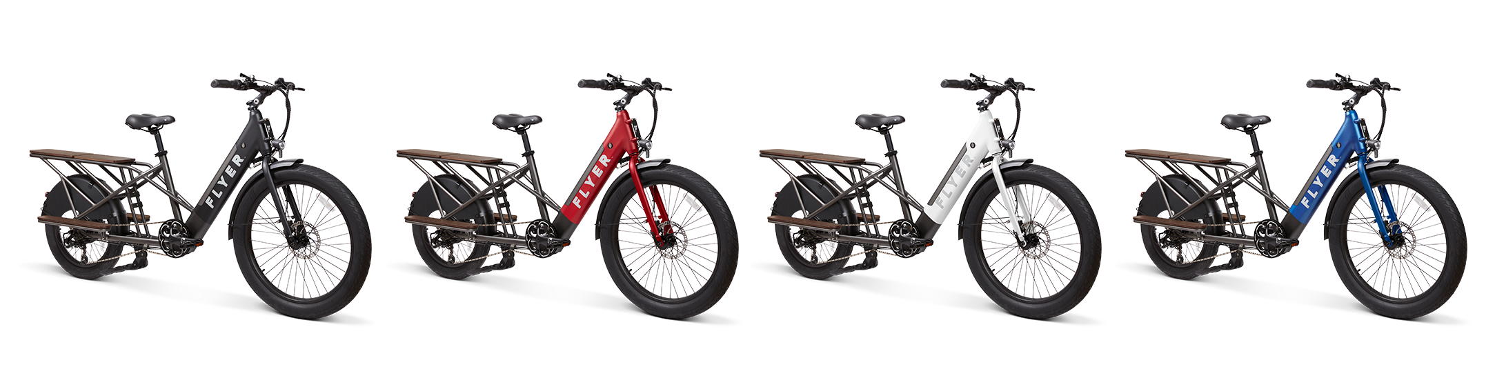 Flyer L885 electric cargo bikes in black red white and blue